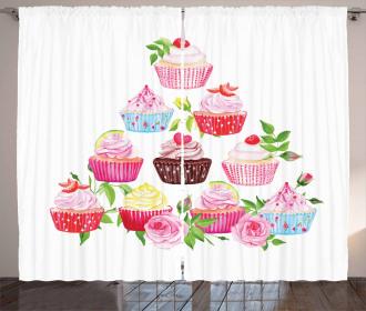 Pyramids of Cupcakes Curtain