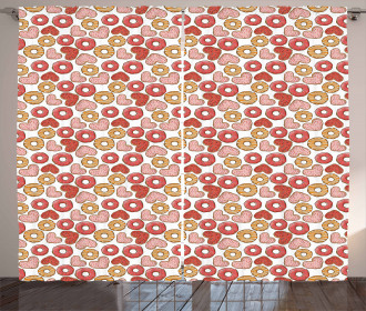 Filled Heart Donuts Curtain