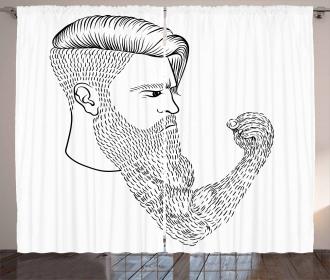 Serious Man Fist Beard Curtain
