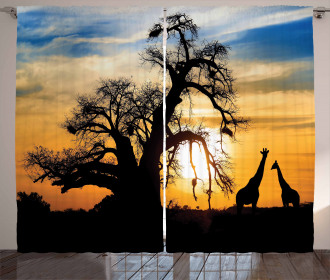 Giraffes Baobab Tree Curtain