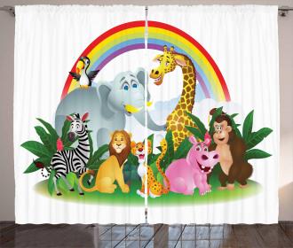 Animals Under Rainbow Curtain
