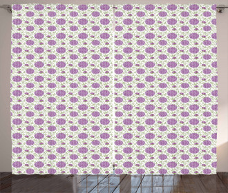Floral Pixel-Like Dots Curtain
