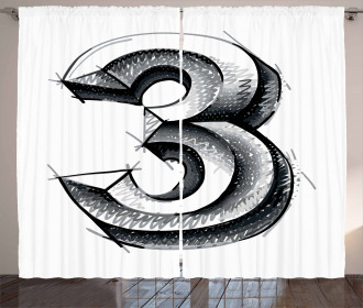 Sketchy Numeral Three Curtain