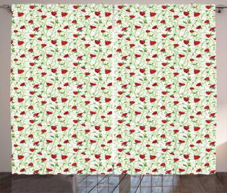 Twiggy Poppy Flowers Curtain