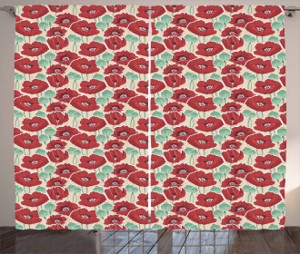 Watercolor Effect Poppy Curtain