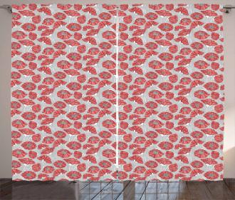 Poppy Petals Polka Dots Curtain