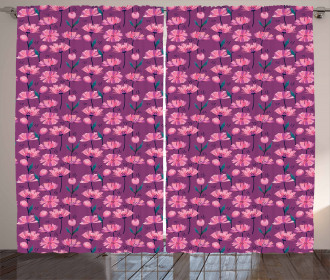 Abstract Poppy Petals Curtain