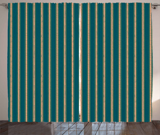 Grungy Stripes Dots Curtain