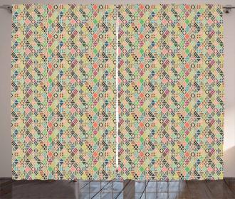 Patchwork Art Rhombus Curtain