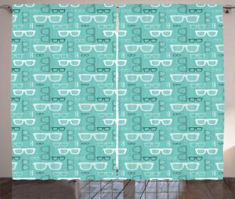 Silhouette Doodle Glasses Curtain