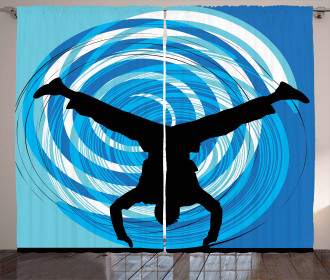 Head Spin on the Floor Curtain