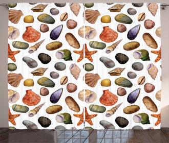 Watercolor Sea Elements Curtain
