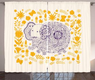 Ethnic Floral Elephant Curtain