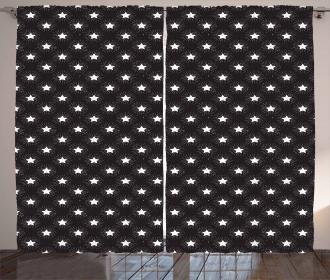 Grungy Stars Rays Theme Curtain