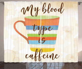 Caffeine Quote Retro Mug Curtain
