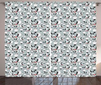 Cartoon Long-Eared Owl Curtain