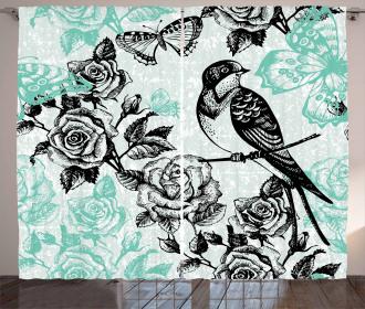 Mockingbird on Rose Tree Curtain
