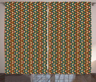 Retro Grid Triangles Curtain