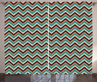 Retro Color Zigzag Line Curtain