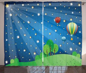 Cartoon Balloons Stars Curtain