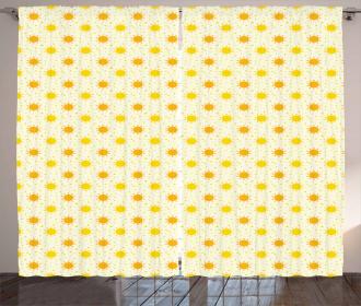 Sun Motif with Dots Curtain