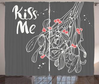 Mistletoe Sketch Noel Curtain