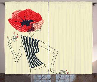 Doodle Girl Poppy Curtain
