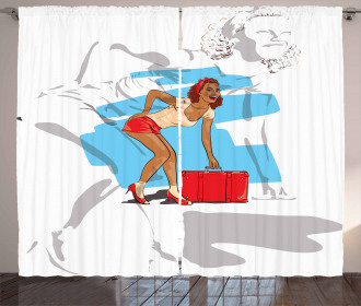 Girl and Suitcase Curtain