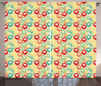 Colorful Shapes Print Curtain