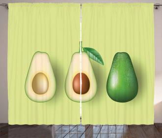 Realistic Half Avocado Curtain