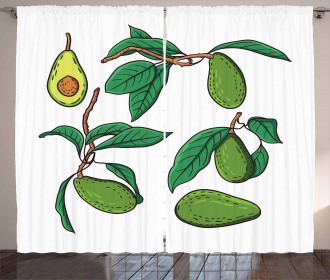 Exotic Fruits on Branch Curtain