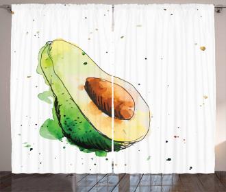 Simplistic Doodle Art Curtain