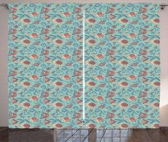 Woodland Floral Design Curtain