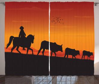Silhouette Farm Cow Herd Curtain