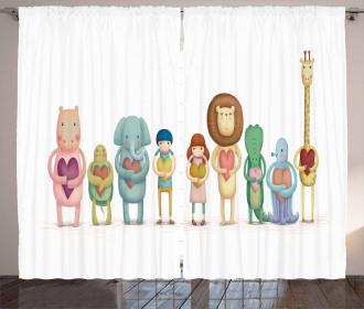 Animals Boy Girl Heart Curtain