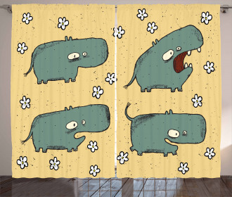 Comic Hippo Floral Grungy Curtain