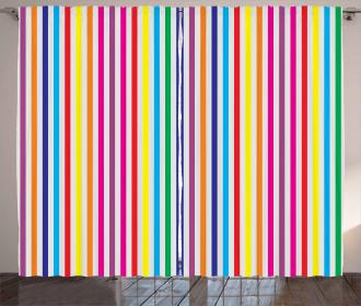 Vertical Stripes Print Curtain