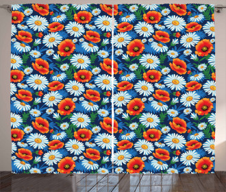 Vibrant Colored Poppies Curtain