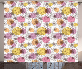 Floral Sketch and Dots Curtain