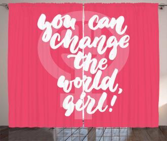 Girl Change the World Curtain