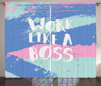 Work Like a Boss Pastel Curtain