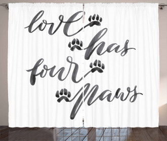 Brush Text Animal Lover Curtain