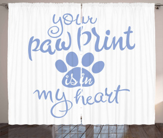 Paw Print is in My Heart Curtain