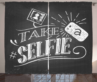 Take a Selfie Phrase Curtain