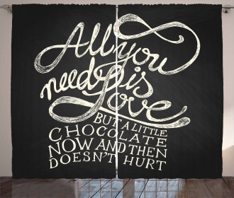 Chocolate Theme Saying Curtain