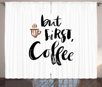 But First Coffee Cup Curtain