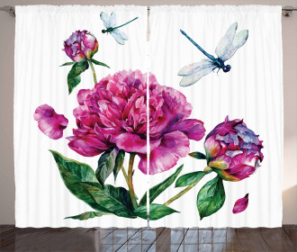 Peonies and Dragonflies Curtain