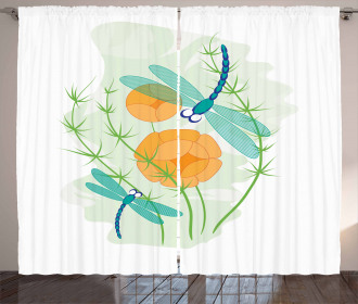 Colorful Nature Bugs Curtain