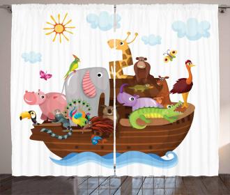 Animals in Ship Cartoon Curtain
