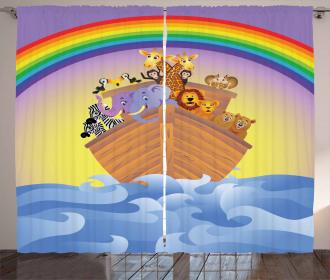 Animals Ship Rainbow Curtain